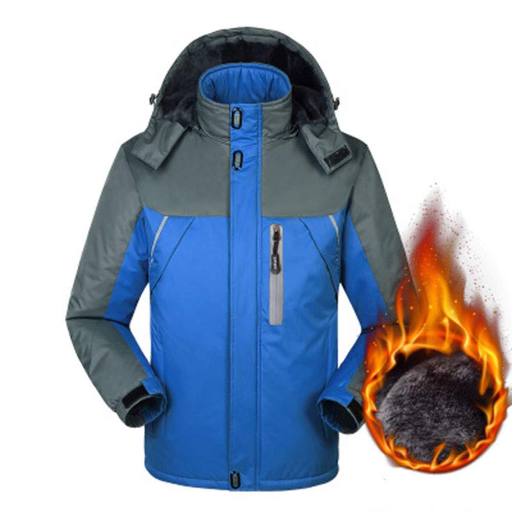 SHR-GCHAO Outdoor Sport Bergjacke Samt Dicker wasserdichter Wear-Resistant Men Baumwollmantel Reiten Ski,Blau,XL