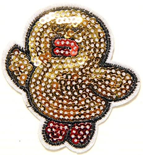 Yellow Duck Sparkly Sequin Shine Shiny Blink Patch Sew Iron on Embroidered Applique Craft Handmade Baby Kid Girl Women Sexy Lady Hip Hop Cloths Jacket T shirt Dress DIY Decorative - Polo Prada T-shirt