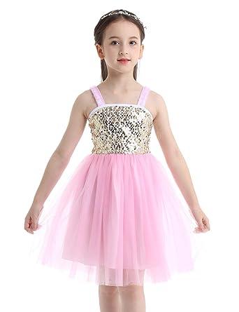 IEFIEL Vestido de Lentejuelas Niña Vestido de Danza Ballet ...
