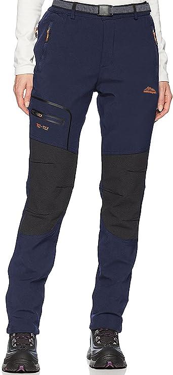 DAFENP Pantalones Trekking Mujer Impermeable Pantalones de Trabajo Montaña Senderismo Alpinismo Ligero Secado Rápido Transpirable Aire Libre