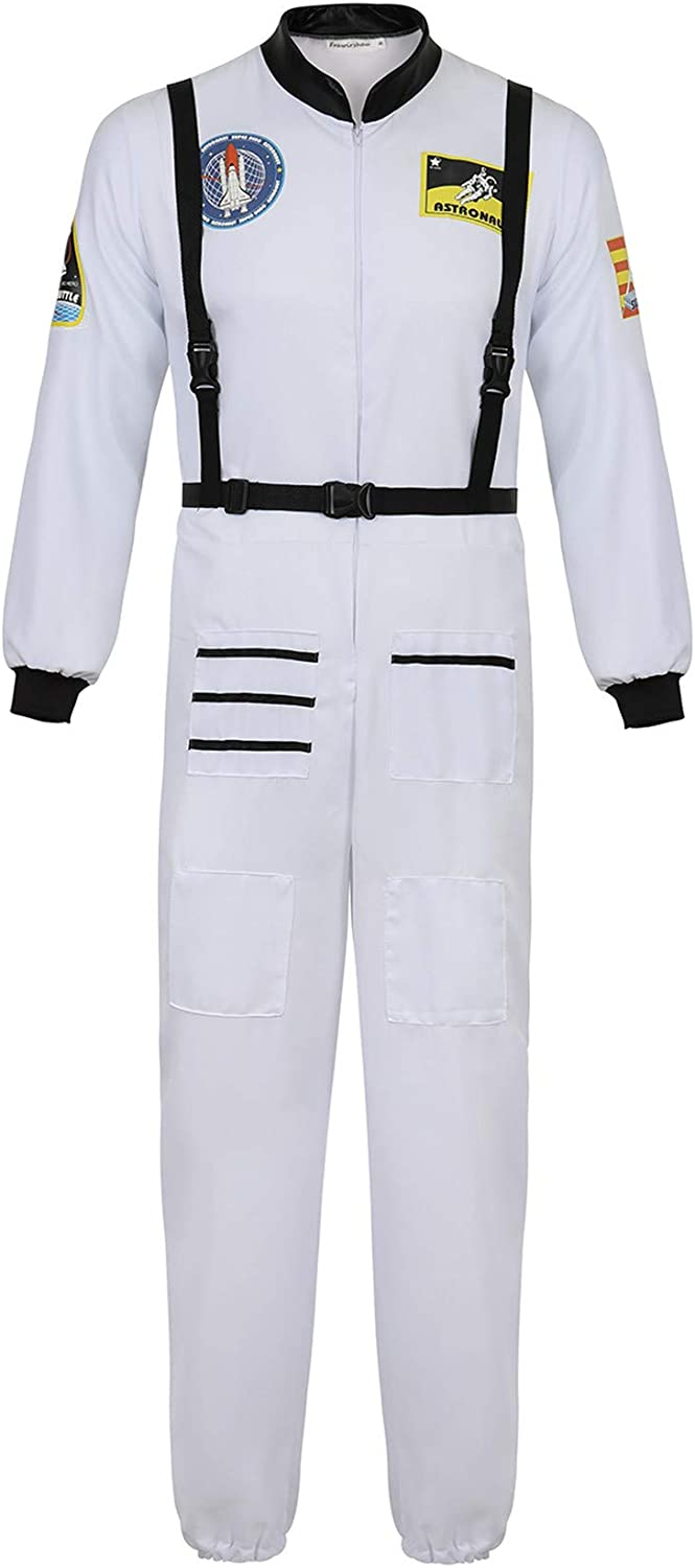 Famajia Mens Astronaut Costume Spaceman Suit Pilot Flight Suit Prisoner Jumpsuit Halloween Adult Costumes