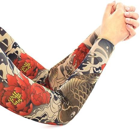 XIUtao Manga de Hielo Manga de Tatuaje para Hombres Flor Brazo ...
