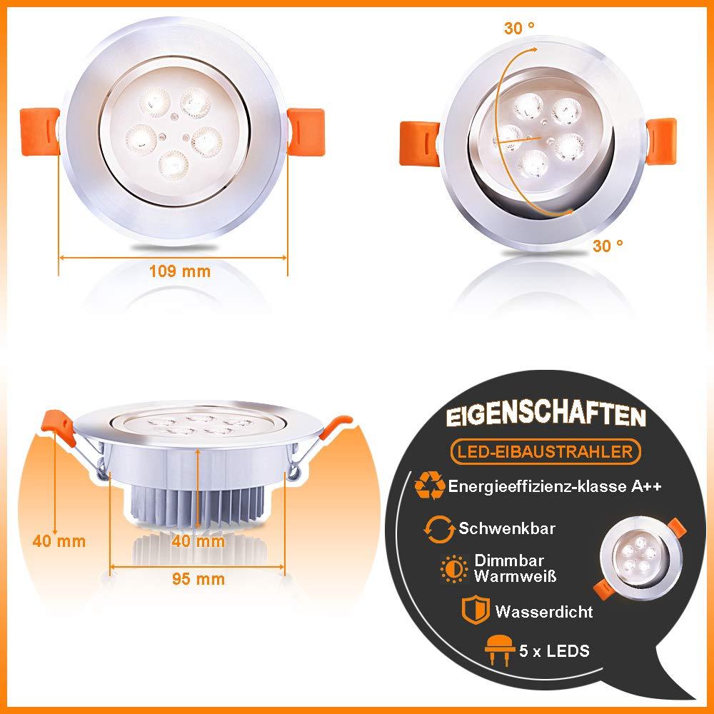 Hengda® Luces empotradas LED de 5W Dimmable Luces empotradas para el techo de la sala Baño de la sala de estar Cocina Lámpara de luz redonda Blanco ...