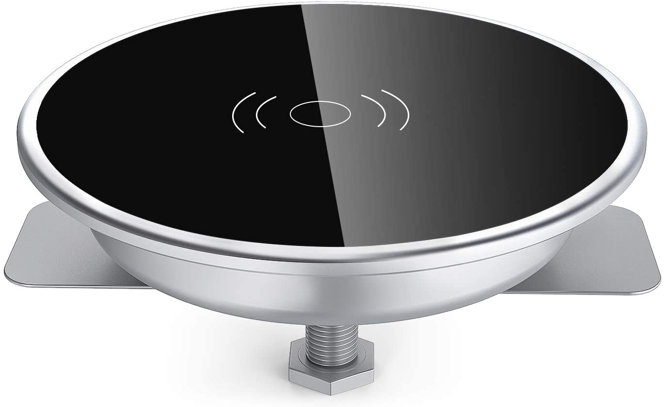 Wireless Charging Station,i.VALUX Desk Wireless Charger for iPhone 11/11 Pro/Xs Max/XR/XS/AirPods Wireless Charging Pad,Qi 10W Fast Wireless Charger for Samsung Galaxy 10/S10+/S9/S9+, Grommet Hole