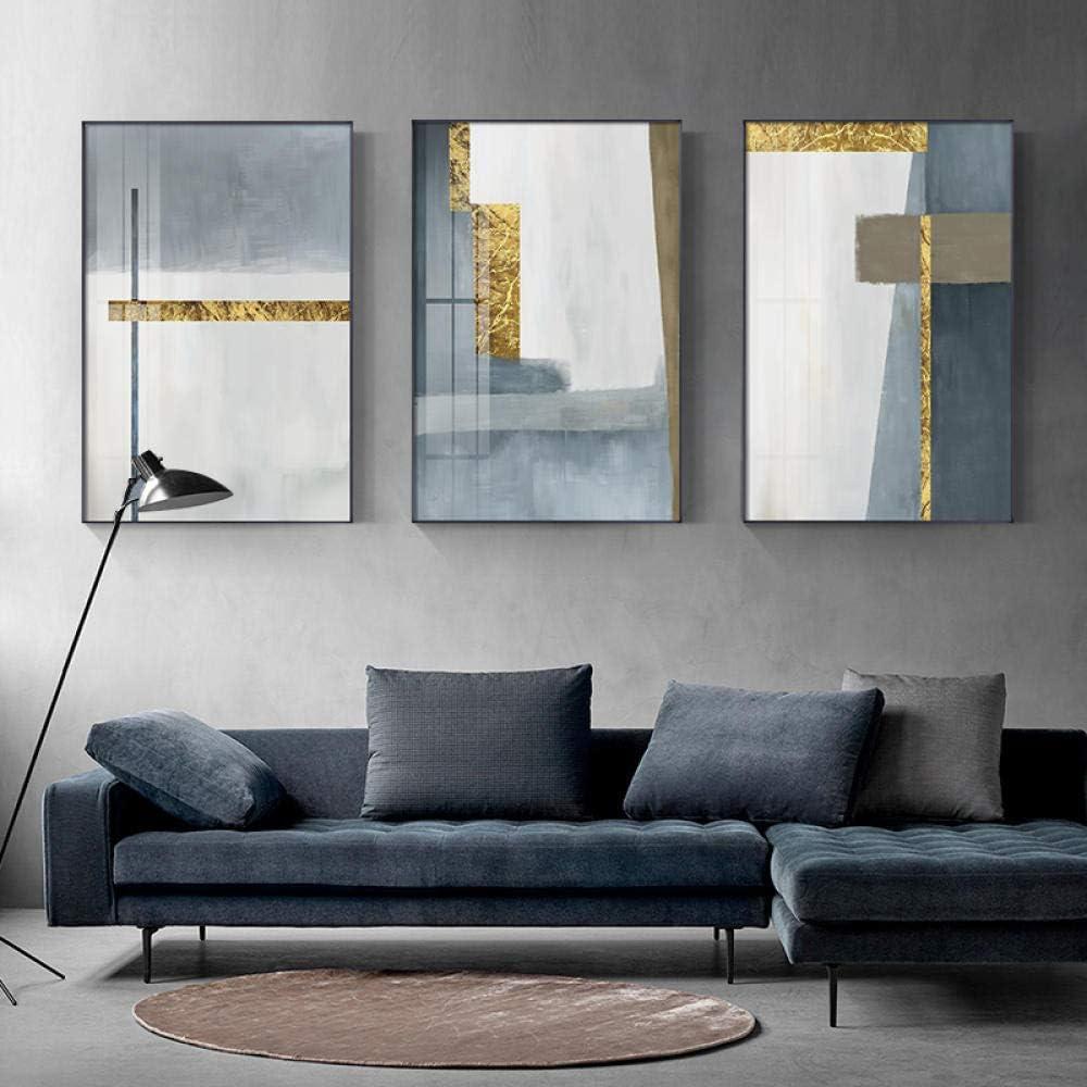 DMPro Cuadro en Lienzo Abstracto Blanco y Gris Dorado Moderno Arte de la Pared Imágenes y Carteles Impresos para Sala de Estar Pasillo Dormitorio Decoración del hogar 40x60 cm (Sin Marco) x3
