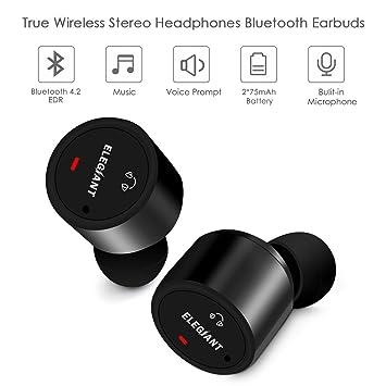 871dfa1bb8c ELEGIANT Mini Auriculares Bluetooth Inalámbricos con Micrófono Manos Libre  para Deporte Reducción de Ruido Estéreo Bajo ...