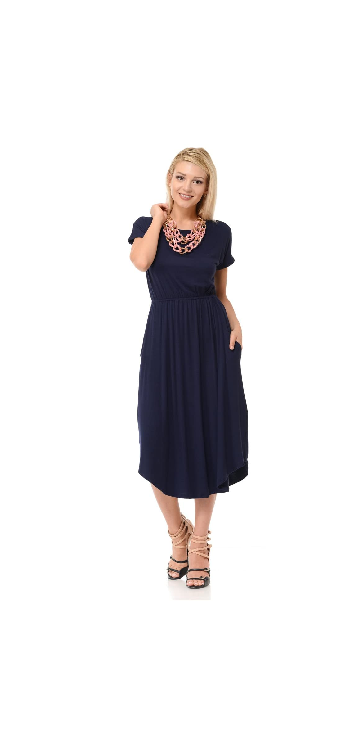 Women's Short Sleeve Flare Midi Dress With Pockets -