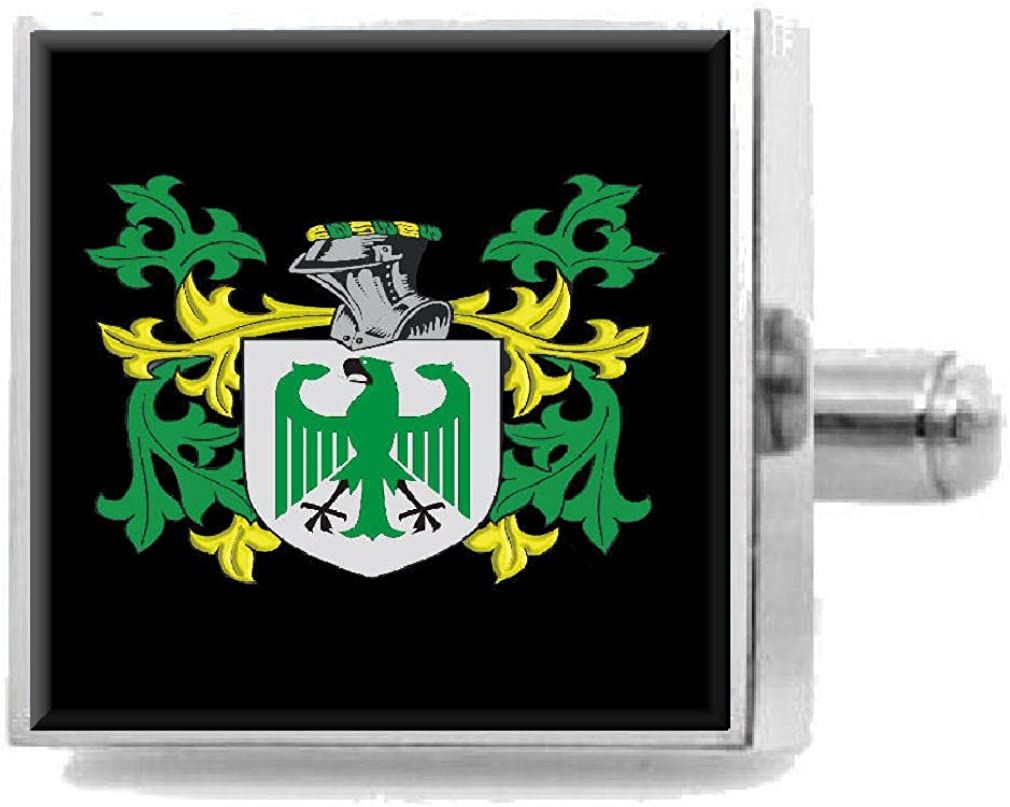 Select Gifts Collier England Family Crest Surname Coat Of Arms Cufflinks Personalised Case