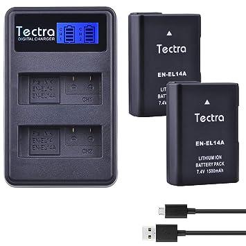 Amazon.com: Tectra 2 Pack Nikon EN-EL14, EN-EL14 a batería ...