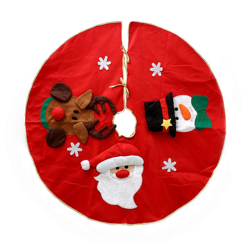 Christmas Tree Skirts 100cm Red with Reindeer Snowman Santa Tree Skirts Base Floor Mat Cover Xmas Decorations willkey