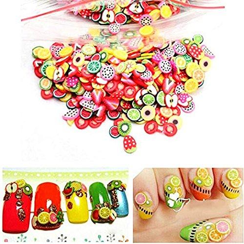 BeatlGem 1000 Unids/Pack Frutas 3D Fimo Rebanada de Arcilla DIYs Nails Art Tips Pegatinas Decoración, Estilo Al Azar