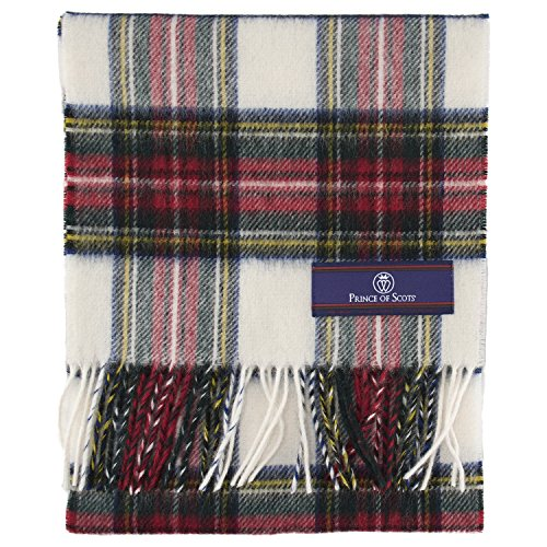Prince of Scots 100% Pure Merino Lambswool Tartan Scarf (Dress Stewart, White) (Scarf White Wool)