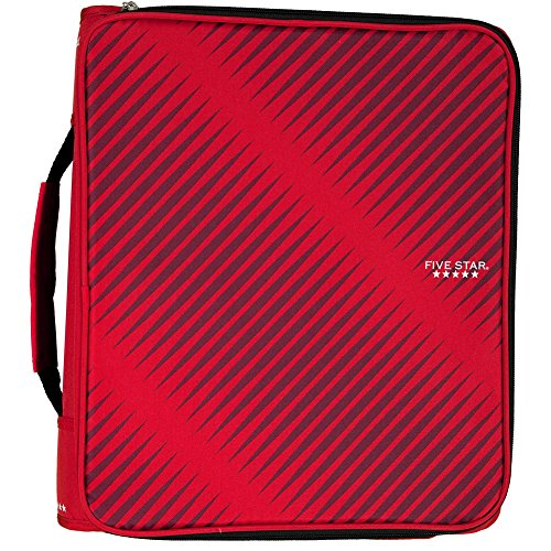 Five Star 2 Inch Zipper Binder, 3 Ring Binder, 6-Pocket Expanding File, Durable, Red (72538) by Five Star
