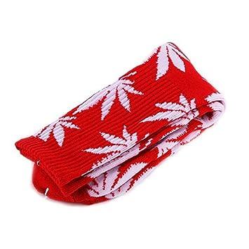 8f9c6e24872 HUF Chaussettes Hautes en Coton Feuille de Cannabis Imprimée Rouge et Rose