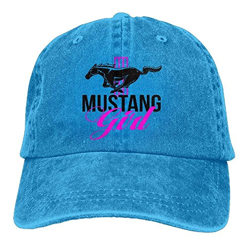 Ford Mustang Girl Pink and Black Women's Unisex Cotton Washed Denim Travel Caps Hats Adjustable RoyalBlue