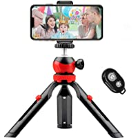 Mini Phone Tripod, Small Tabletop Tripod for iPhone Samsung Sports Camera DSLR Gopro with Remote Control and Universal…