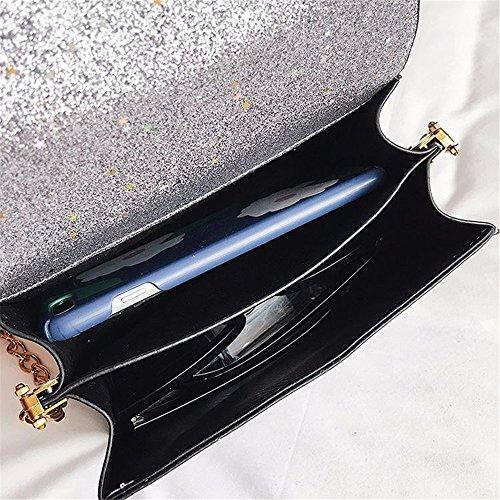 Femenino Bag de Femenino de Cuadrado Bolso Retro Crossbody Regalo Simple Hombro señora PU del Hombro Embrague Plata Bolso Lentejuelas de magnética Especial Messenger Hebilla golpea RTAqE