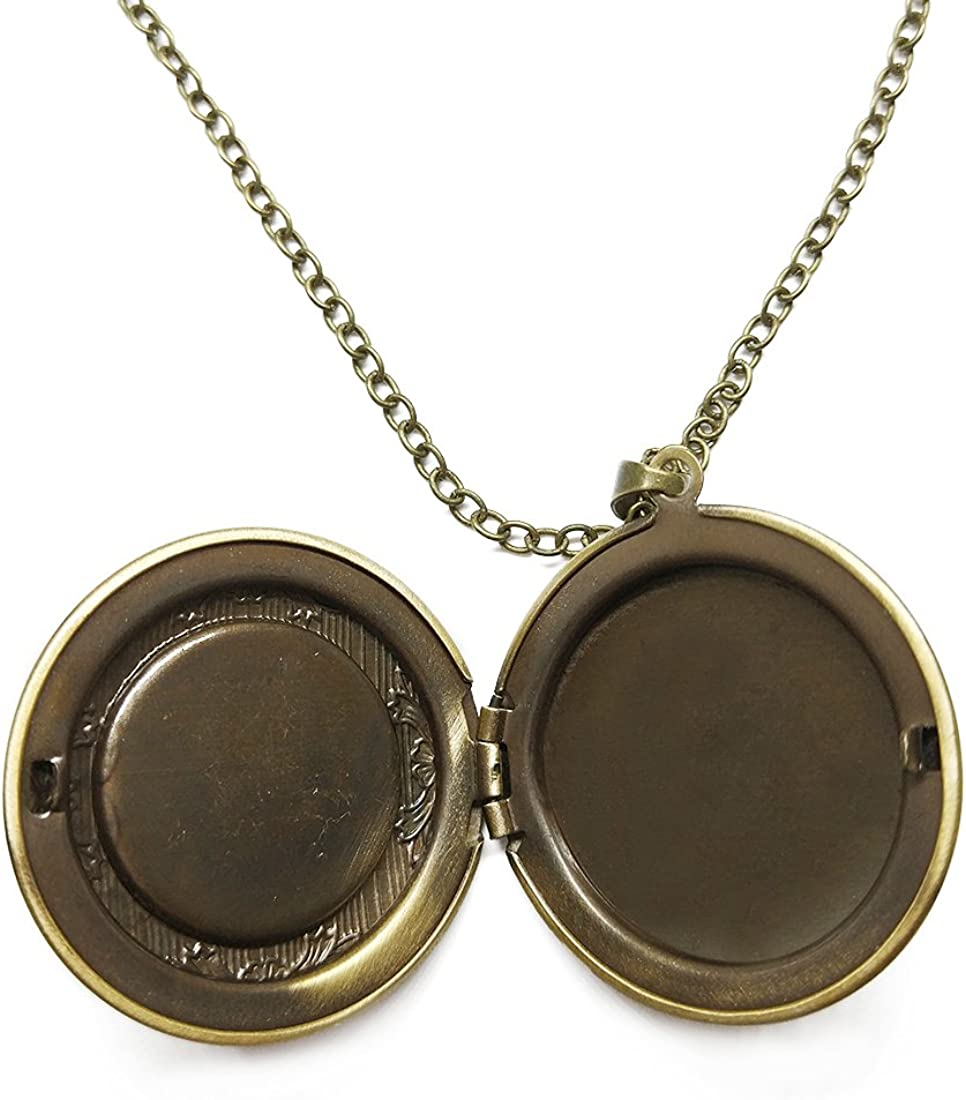 Fangship Mandala Flower Locket Pendant Stainless Steel Necklace Round Box Chain Jewelry for Women Girl Boy Men 1.18 Inch Includes Adjustable Length Cable Chain