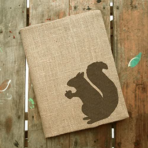 "Squirrel Burlap Journal Cover - Composition Notebook Included - 9.75"" x 7.5"""