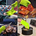 BBQ Grill Oven/Cooking Gloves-Meat Claws Set - Targher 5 in 1 BBQ Set with Silicone BBQ Gloves , Bear Claws, Digital Cooking Thermometer, Silicone Basting Brush and Non-stick BBQ Baking Mat - For Indoor & Outdoor Cooking 16 ► EXTREME HEAT RESISTANT WITH PREMIUM QUALITY- Each mitt of Targher BBQ gloves is crafted with aramid fabric, a type of high performance, and heavy duty synthetic known for its ability to withstand high heat and repeated use. Each Inner liner is crafted with heat resistant polyester cotton, 2 - Level system protect your hands! The highest heat resistant is available up to 932°F/500°C. Your safety protection is first and essential. ► MULTI-FUNTION AND VERSATILE- This BBQ Cooking gloves are not just perfect ACCESSORIES for Grill but also a good helper for kitchenware. GREAT for opening a jar, taking out your hot bread from oven, fireplace logs, car repair, welding, light-bulb changes and more! Perfect to protect your hands for grilling, cooking, baking, or handling super-hot items in the kitchen and outdoors.. ► NO-SLIP SILICONE AND FOREARM PROTECTION- Silicone super-grip surface to prevent anything slipping from your grasp and 5 inches cuff keeps your wrists and lower forearms protected from high temperatures. It allows your hands & fingers move freely, minimize fatigue Silicone strips on palm & back of hand, anti-skid, good for holding large bowl with soup by flexible right handed & left handed! You will cook longer, stronger!