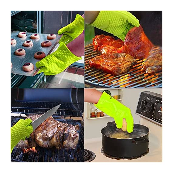 BBQ Grill Oven/Cooking Gloves-Meat Claws Set - Targher 5 in 1 BBQ Set with Silicone BBQ Gloves , Bear Claws, Digital Cooking Thermometer, Silicone Basting Brush and Non-stick BBQ Baking Mat - For Indoor & Outdoor Cooking 7 ► EXTREME HEAT RESISTANT WITH PREMIUM QUALITY- Each mitt of Targher BBQ gloves is crafted with aramid fabric, a type of high performance, and heavy duty synthetic known for its ability to withstand high heat and repeated use. Each Inner liner is crafted with heat resistant polyester cotton, 2 - Level system protect your hands! The highest heat resistant is available up to 932°F/500°C. Your safety protection is first and essential. ► MULTI-FUNTION AND VERSATILE- This BBQ Cooking gloves are not just perfect ACCESSORIES for Grill but also a good helper for kitchenware. GREAT for opening a jar, taking out your hot bread from oven, fireplace logs, car repair, welding, light-bulb changes and more! Perfect to protect your hands for grilling, cooking, baking, or handling super-hot items in the kitchen and outdoors.. ► NO-SLIP SILICONE AND FOREARM PROTECTION- Silicone super-grip surface to prevent anything slipping from your grasp and 5 inches cuff keeps your wrists and lower forearms protected from high temperatures. It allows your hands & fingers move freely, minimize fatigue Silicone strips on palm & back of hand, anti-skid, good for holding large bowl with soup by flexible right handed & left handed! You will cook longer, stronger!