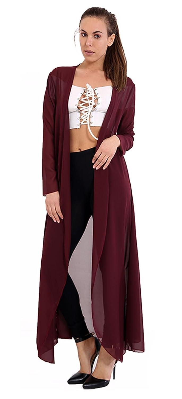 Ladies Chiffon Sheer Mesh Plain Kimono Duster Maxi Jacket CA SIze 4-22 Momo&Ayat Fashions