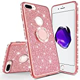 Wydan Glitter Ring Case for iPhone 8 Plus, 7 Plus, 6S / 6 Plus - Bling Slim Hybrid Kickstand Rose Gold Phone Cover for Apple