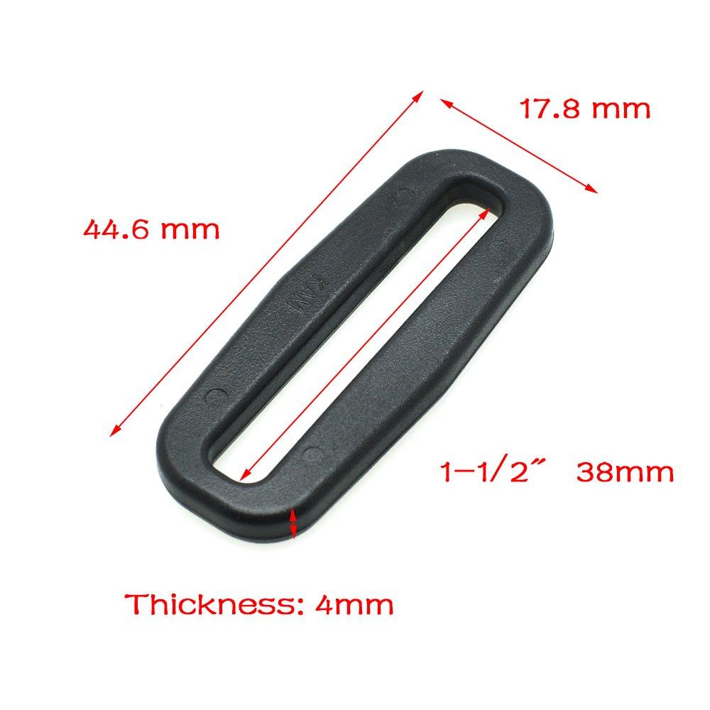 10/pcs Plastique passants Looploc rectangle Anneaux Boucles r/églables 1-1//2 38mm