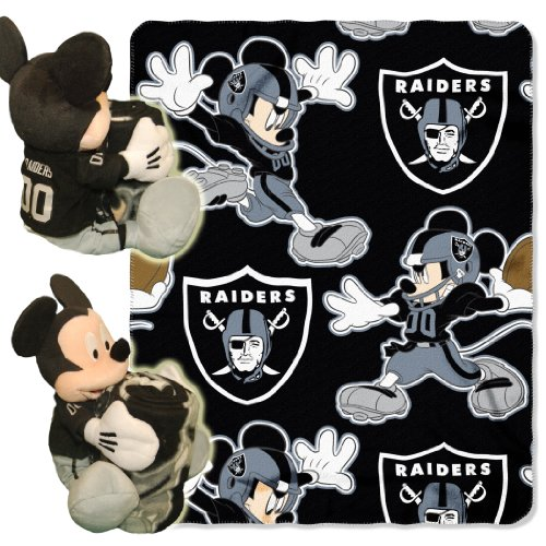Officially Licensed NFL Oakland Raiders Co-Branded Disney's Mickey Hugger and Fleece Throw Blanket Set