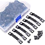 Swpeet 120 Pcs Sawtooth Picture Frame Hanging Hangers Double Hole with Screws, for Home Decoration Creative Picture Frame Hanging (Black)