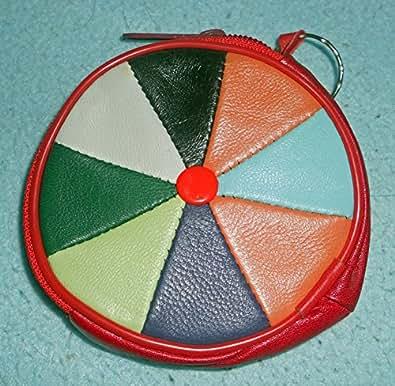 Monedero llavero porta monedas redondo colorido estilo hippie hippy piel sintética