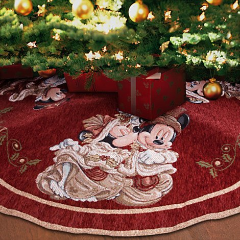 Mickey Minnie Mouse Victorian Tapestry Christmas Tree Skirt