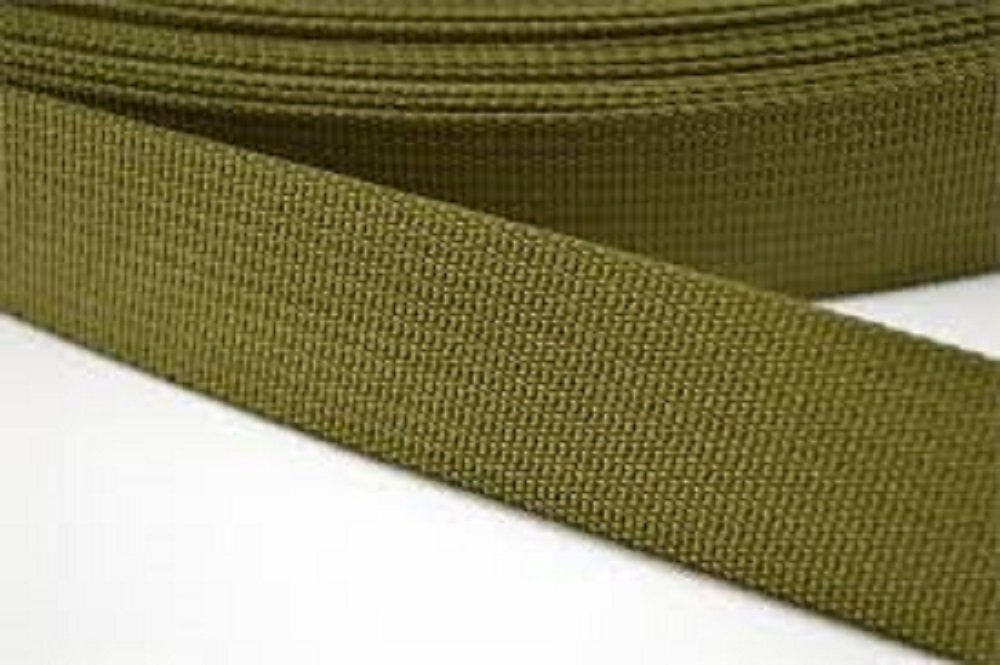 10 Yards 1 Olive Drab Green Medium Weight Polypro Webbing .052 Thick 7 Degrees North W02