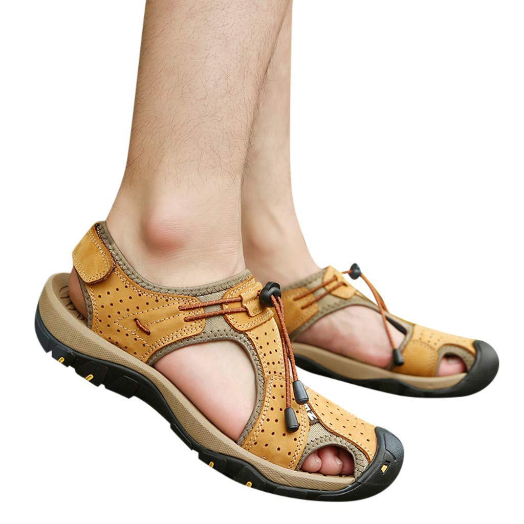 Summer Men's Sandals, Summer Outdoor Mens Leather Flats Casual Beach Shoes Breathable Sport Sandals