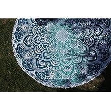 "Ombre Round Mandala Beach Towel Beach Throw Roundie Yoga Mat Table Cloth Wall Tapestries 70"""