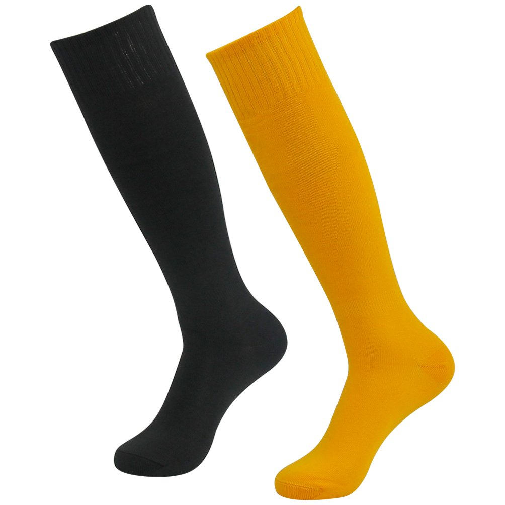 J'colour Soccer Socks Pack, Unisex Knee High Solid Breathable Compression Football Socks 2 Pairs Black Yellow by J'colour