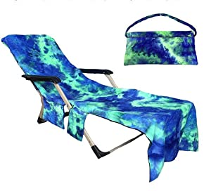 Pawsky Beach Chair Cover, Chaise Lounge Towel Cover with Storage Pockets for Pool, Sun Lounger, Hotel, Vacation, Blue