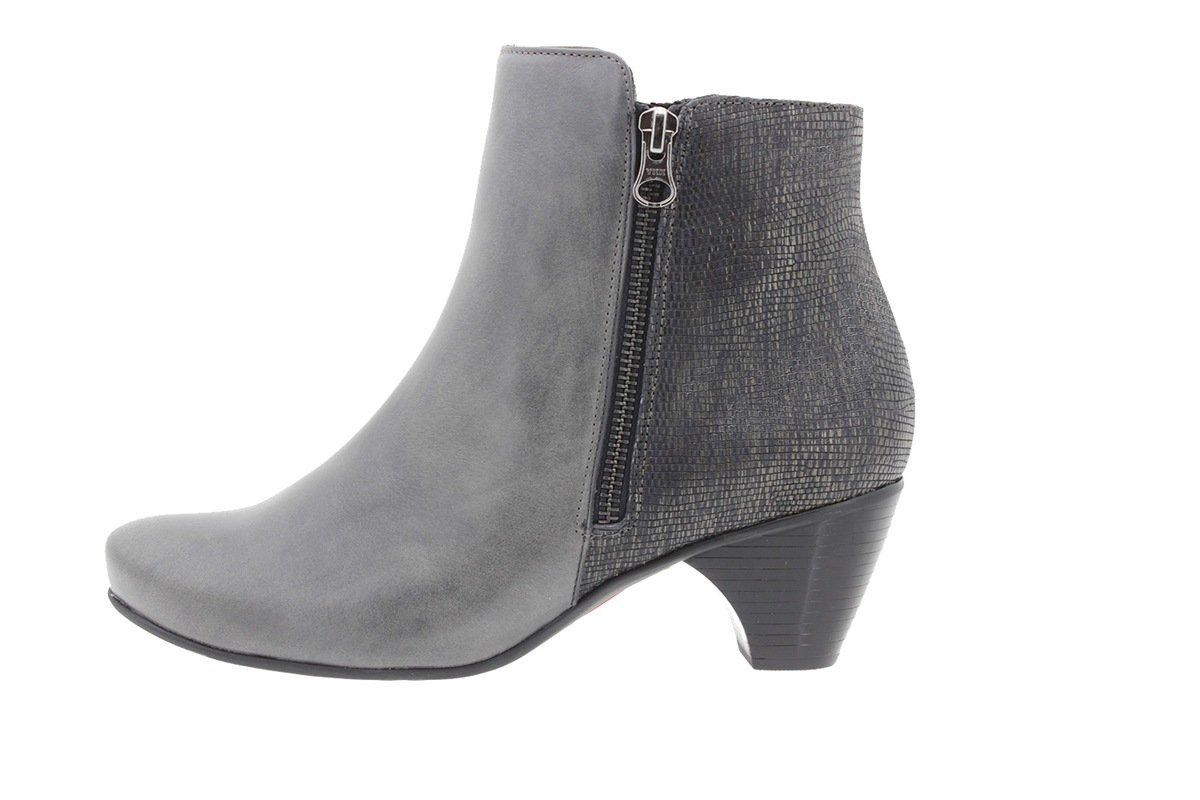 PieSanto Women's 9880 Grey Leather Ankle boot Comfort Extra Wide 37 W EU (6.5 - 7 C/D US Women)