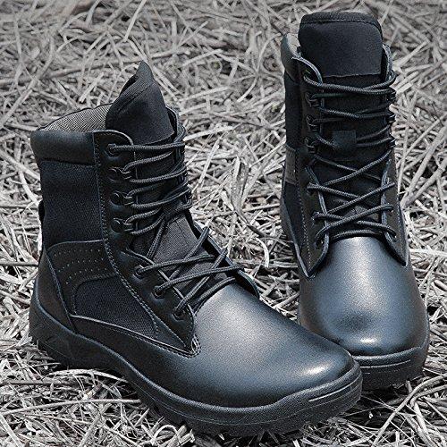 WZG Ejército de los aficionados de los hombres botas de combate al aire libre de los zapatos del alto-top de comando negro botas de campo del desierto botas tácticas militares zapatos masculinos Black