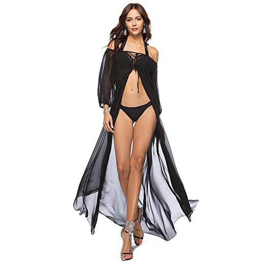 69c3c557ae Sexy Chiffon Bikini Cover Up Off Shoulder Swimsuit Bathing Suit Bohemia  Beach Dress Lingerie Robe Nightgown