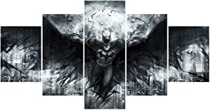 FUNHUA Batman Posters Wall Art Unframed 5 Panels DC Batman Movie Painting Picture Canvas Print Gift for Children Kids Home Bedroom Decor