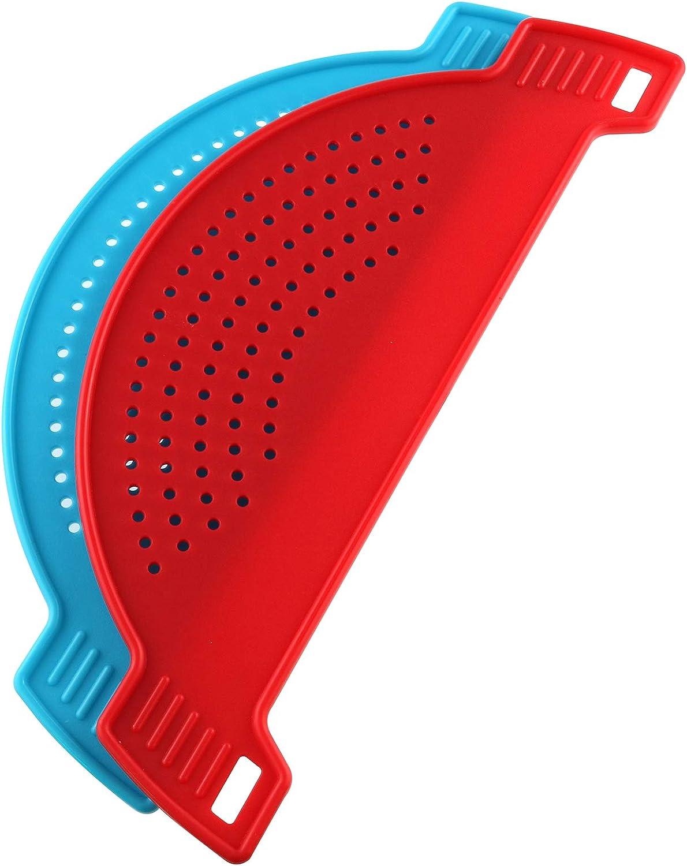 AXLIZER 2PCS Plastic Drainer Filter Half Moon Shape Food Filter Strainers Pot Sieve Draining Household Creative Noodle Filter