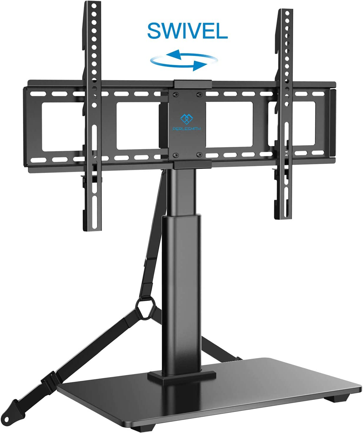 PERLESMITH Swivel TV Stand Universal Table Top TV Base for 32 to 65 inch LCD LED OLED 4K Flat Screen TVs - Height Adjustable TV Mount Stand with Safe TV Anti-tip Cable, VESA 600x400mm