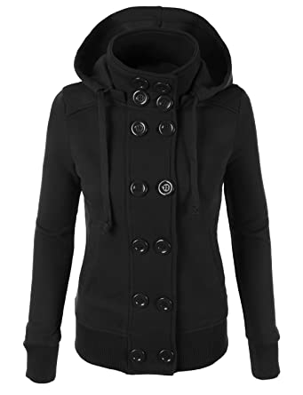 Amazon.com: RubyK Womens Classic Double Breasted Pea Coat Jacket ...