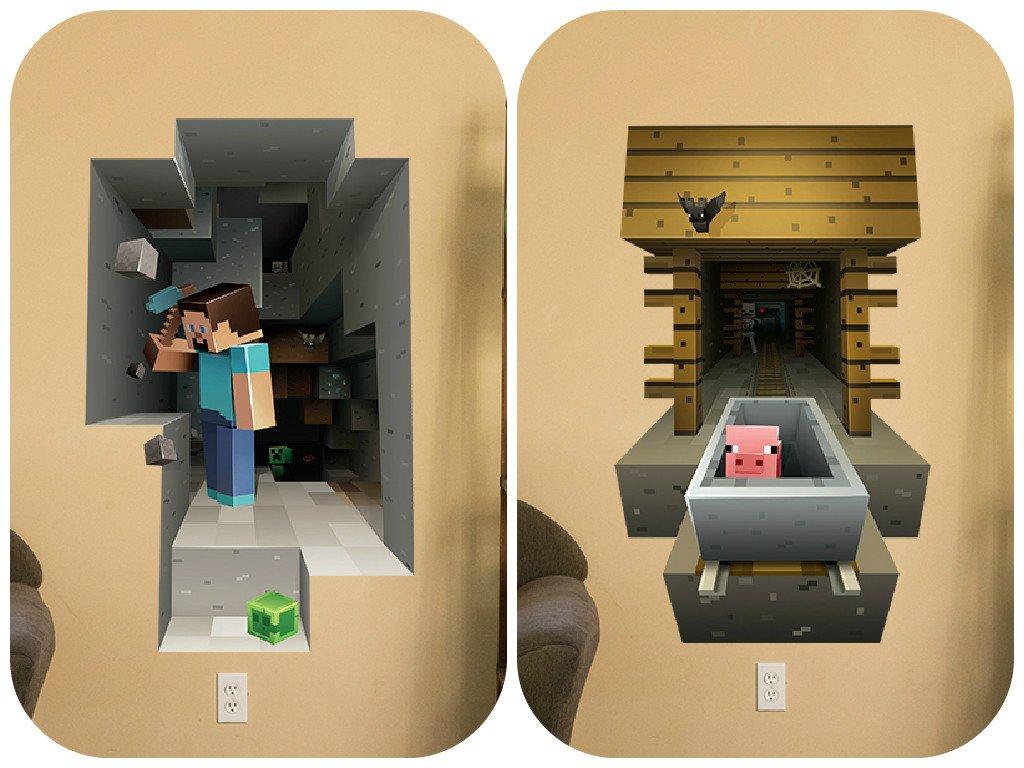 Minecraft Vinyl Wall Graphics Mining 2-Pack: Amazon.co.uk: DIY & Tools
