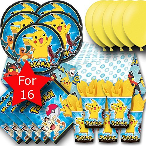 Signature Balloons Pokemon Team Instinct Party Pack For 16 - Plates, Cups, Napkins, Balloons And Tablecovers
