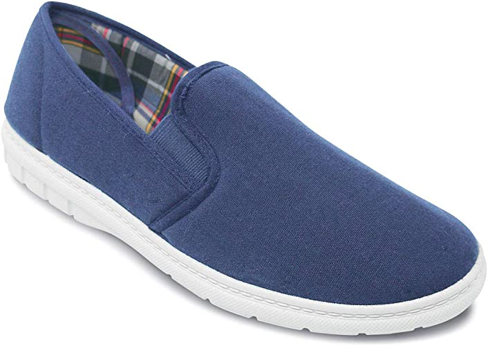Mens Wide Fit Slip On Canvas Shoes