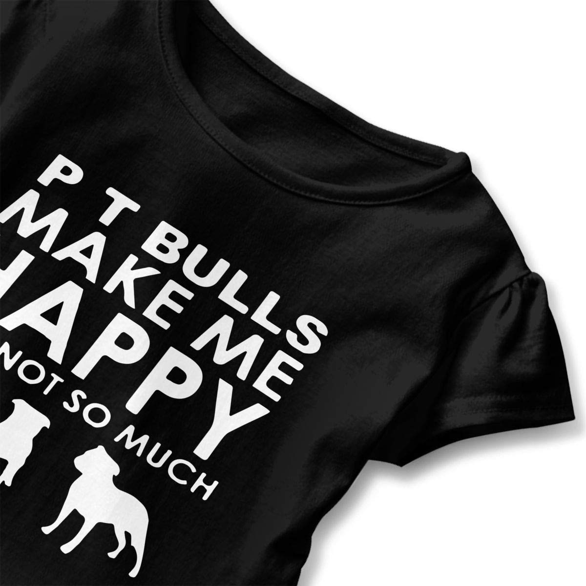 SHIRT1-KIDS Pit Bulls Make Me Happy You Toddler//Infant Girls Short Sleeve Ruffles Shirt Tee Jersey for 2-6T