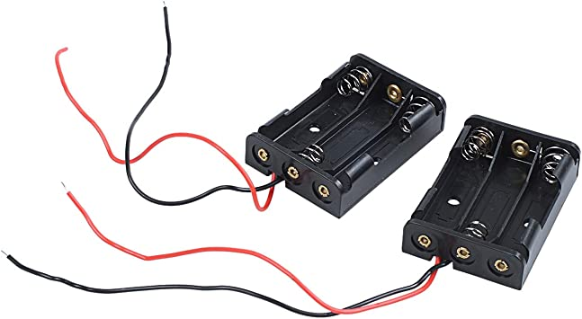 WOVELOT 2 pzs Negro Caja Soporte de bateria de plastico alambrado para 3 x AAA 1.5V: Amazon.es: Electrónica