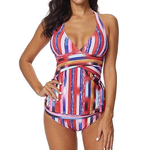 f7a3c72cfc811 Amazon.com: Gooldu Women Two-Piece Swimsuit, Ladies Split Bikini Set Plus  Size Conservative Color Stripe Swimwear Beachwear: Clothing